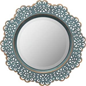 Stonebriar Decorative Metal Lace Mirror with Attached Wall Hanger, Turquoise with Brass Highlights, Elegant Home Decor