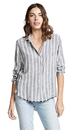 a20d0ed46 Image Unavailable. Image not available for. Color: Bella Dahl Women's  Frayed Hem Button Down Shirt, White, Small