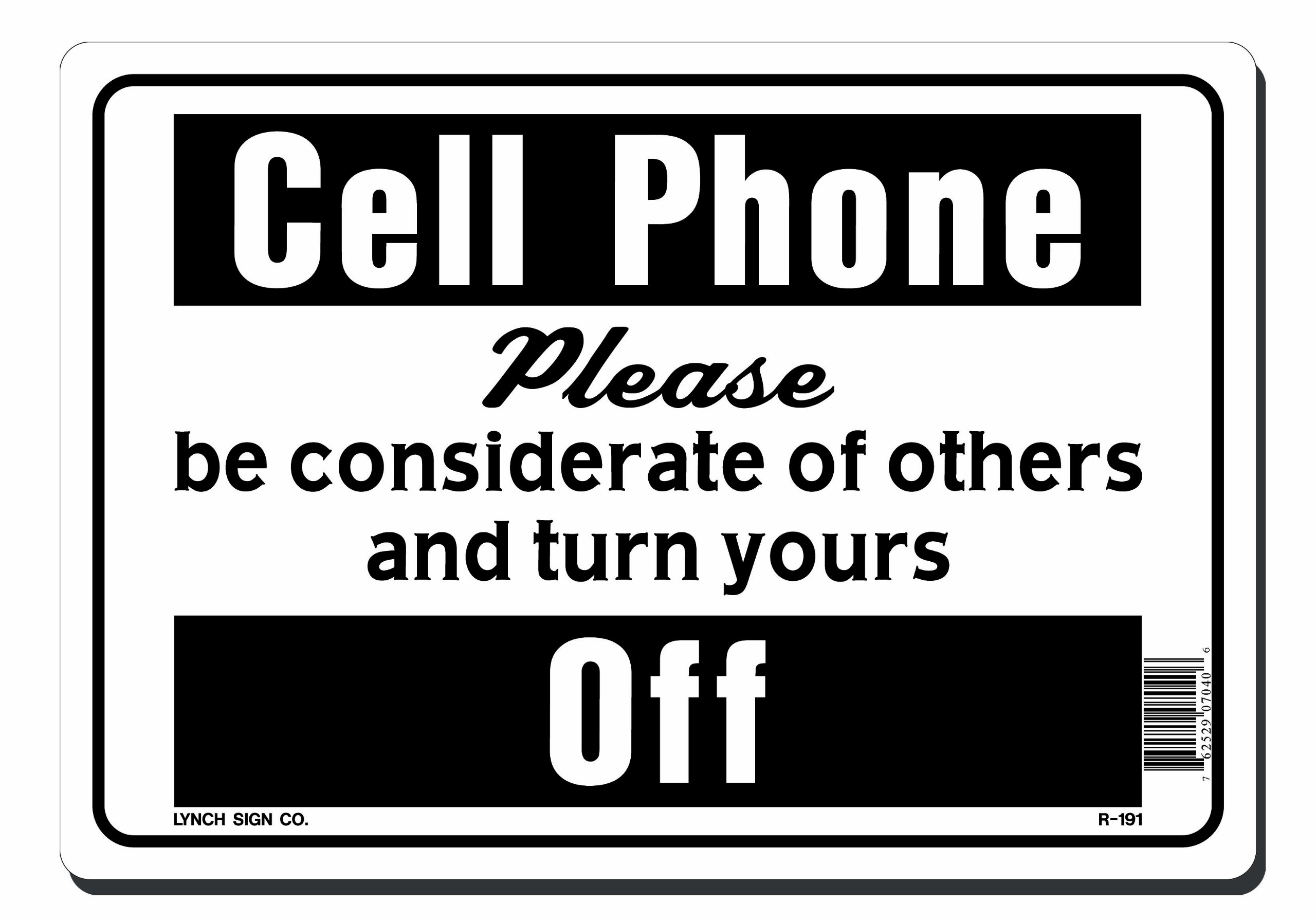 Lynch Signs 10 in. x 7 in. Sign Black on White Plastic Cell Phone Please Turn Yours Off by Lynch Signs (Image #1)