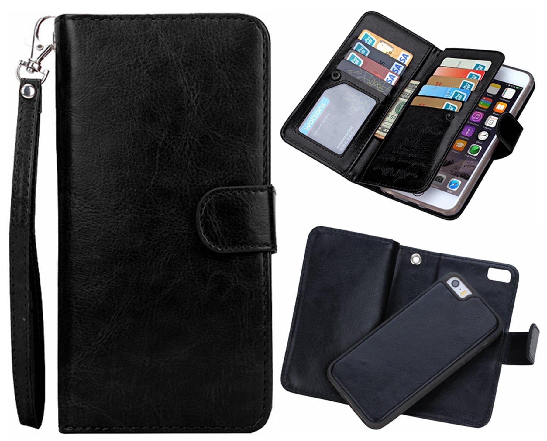 iPhone 6 plus/6S plus 2 in 1 Wallet Case,Hynice Folio Flip PU Leather Case Magnetic Detachable Slim Back Cover Card Holder Slot Wrist Strap wallet for iPhone 6 plus/6S plus 5.5'' (black)