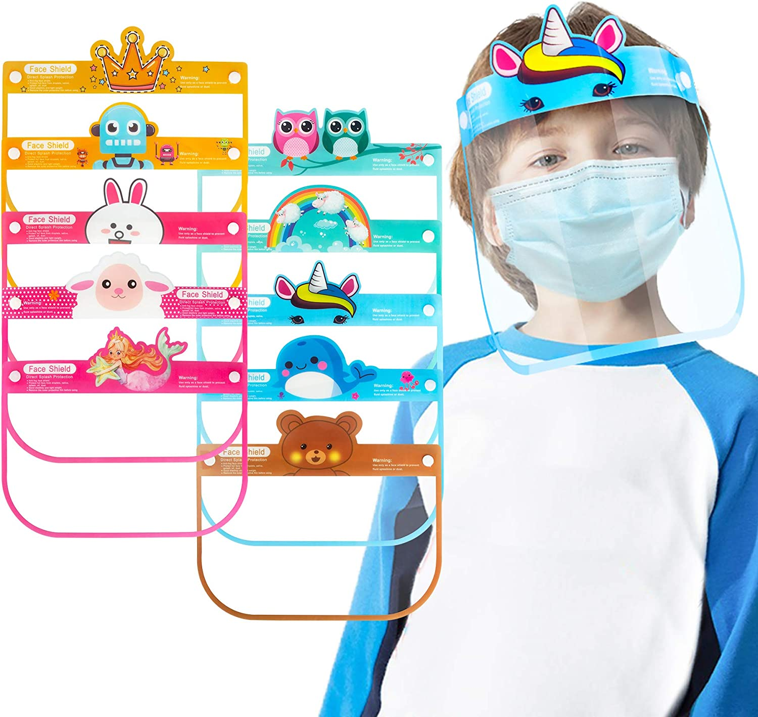 Details about  /3x Kids Safety Full Face Shield Protector Clear Face Cover Visor Hat Cap Stretch