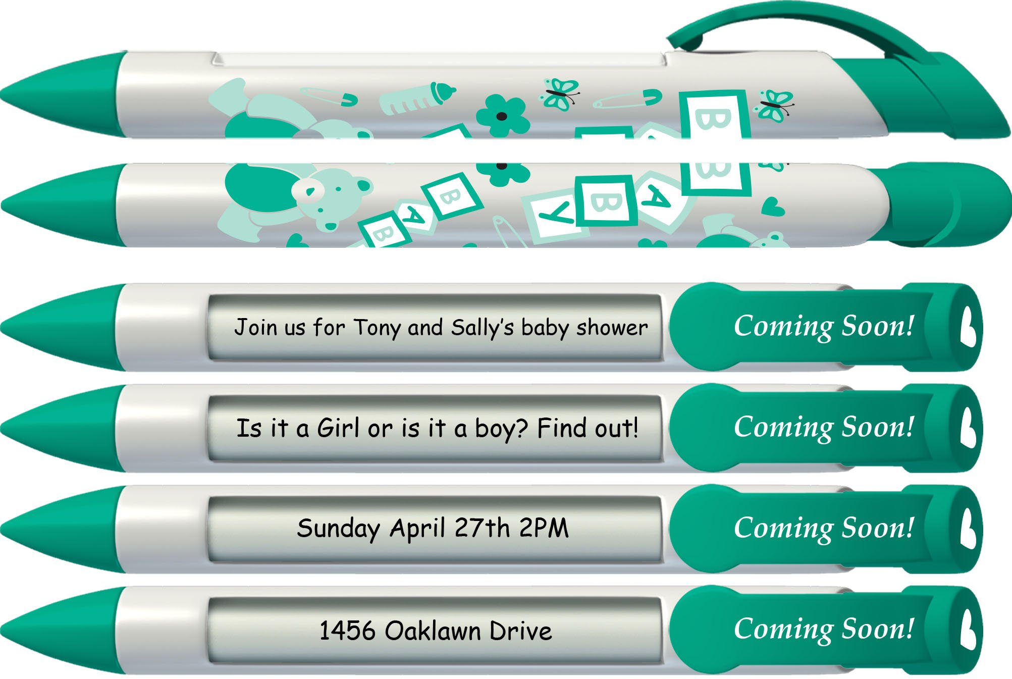 Baby Pen by Greeting Pen- Personalized Birth Announcement Pens- Baby Coming Soon Rotating Message Pen 50 pack (P-BP-27-50) by Greeting Pen (Image #3)