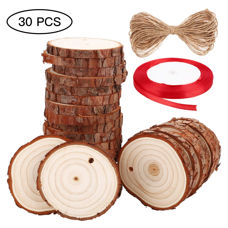 SOLEDI 30 PCS 2,4 -2,8 Tranches de bois naturel non-fini pré-percé avec des cercles en bois, avec 33 pieds de ficelle de jute naturel et 72 pieds de ruban rouge bricolages, ornements de Noël et décorations pour maison 4 -2