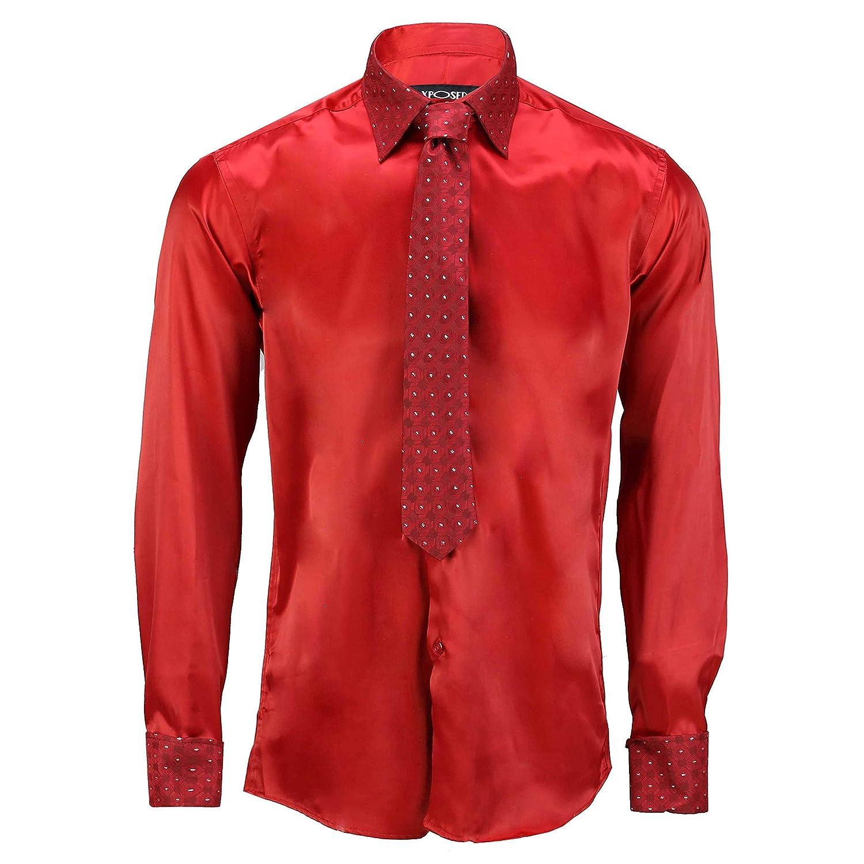 Hochzeitskleid Party Taschentuch Manschettenkn/öpfen Satingef/ühl Krawatte inkl Xposed Herren Hemd mit silberfarbenem Rand und doppelter Manschette