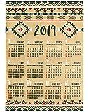 アメリカン雑貨 2019年 カレンダー 壁掛け 麻 ジュート ポスター (ネイティブ/アステカ) アシアン雑貨 カジュアル