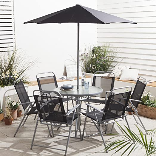 Hawaii Garden Patio Furniture 8 Piece Outdoor Dining Set  Table 6 Chairs  Parasol