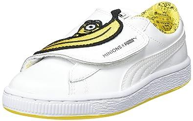 Puma Minions Basket Wrap Statement Leather PS, Sneakers Basses Mixte enfant,  Blanc (White