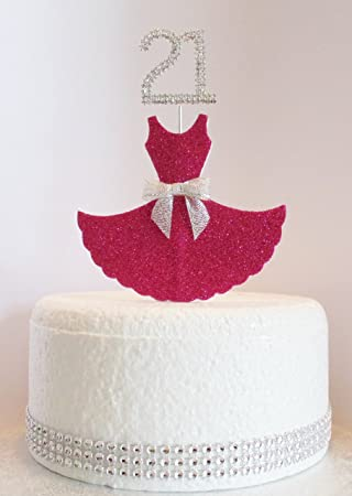 21st Birthday Cake Decoration Sparkly Cerise Dress With Diamante Crystal Number Non Edible 21 Amazoncouk Toys Games