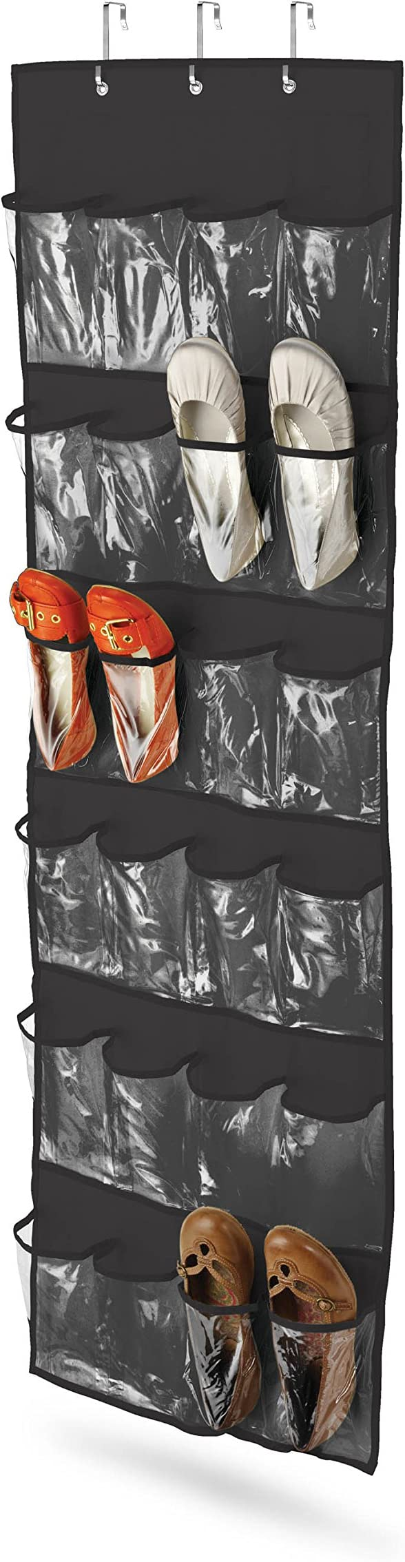 Black Honey-Can-Do SFT-01249 Over The Door Clear Shoe Organizer//Storage Rack
