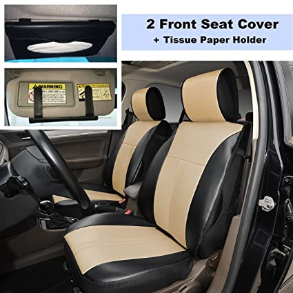 220905S Black Tan 2 Front Car Seat Cover Cushions Leather Like Vinyl Sun