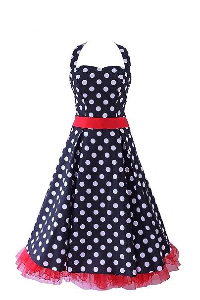 New Vintage 1950s 60s Rockabilly colores blanco y negro rojo diseño de lunares con escote Halter
