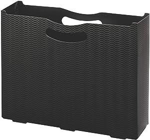 "Smead Poly File Box, 3"" Expansion, Letter Size, Black Wave Pattern (71631)"