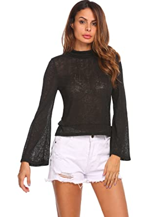 9908ee6df106b EASTHER Women Sexy Solid Bell Sleeve Turtleneck Back Bandage Beach Cover Up  Black XL at Amazon Women s Clothing store