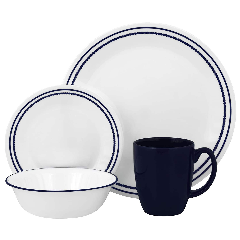 Amazon.com | Corelle Livingware 16-Piece Dinnerware Set Breathtaking Blue Beads Service for 4 Dinner Plates Dinnerware Sets  sc 1 st  m.amazon.com & Amazon.com | Corelle Livingware 16-Piece Dinnerware Set ...