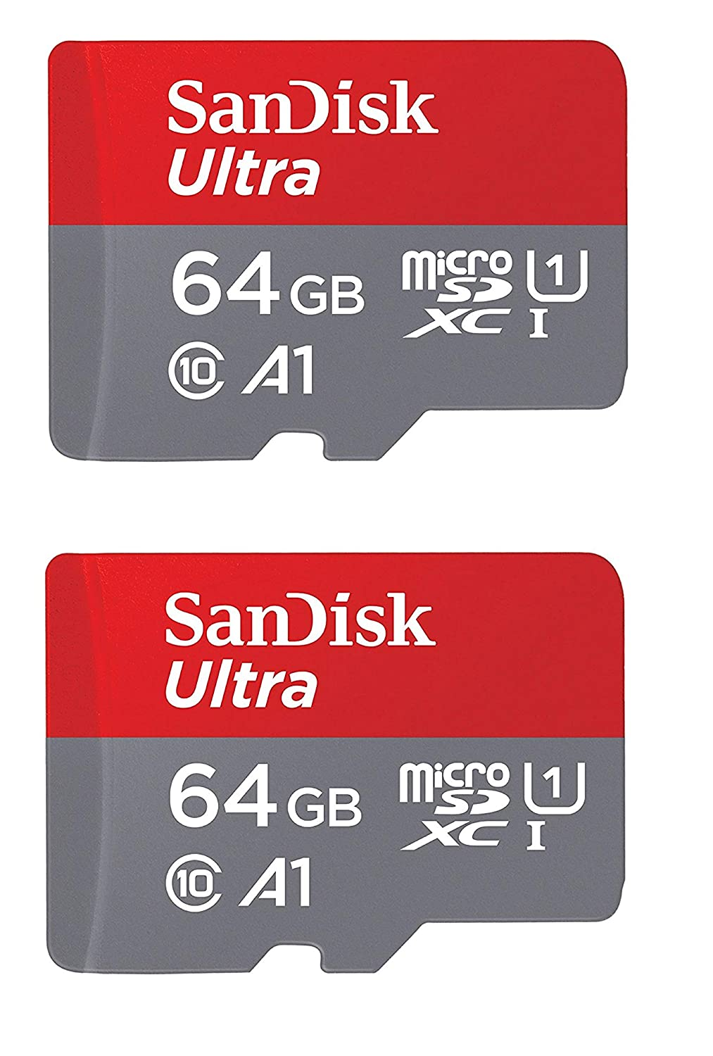 SanDisk Ultra Plus 64GB microSDXC UHS-I Card with SD Adapter, Grey/Red, Full HD up to 100 MB/S For Android Phone, Tables and Camera (2 Pack of 64 GB ...