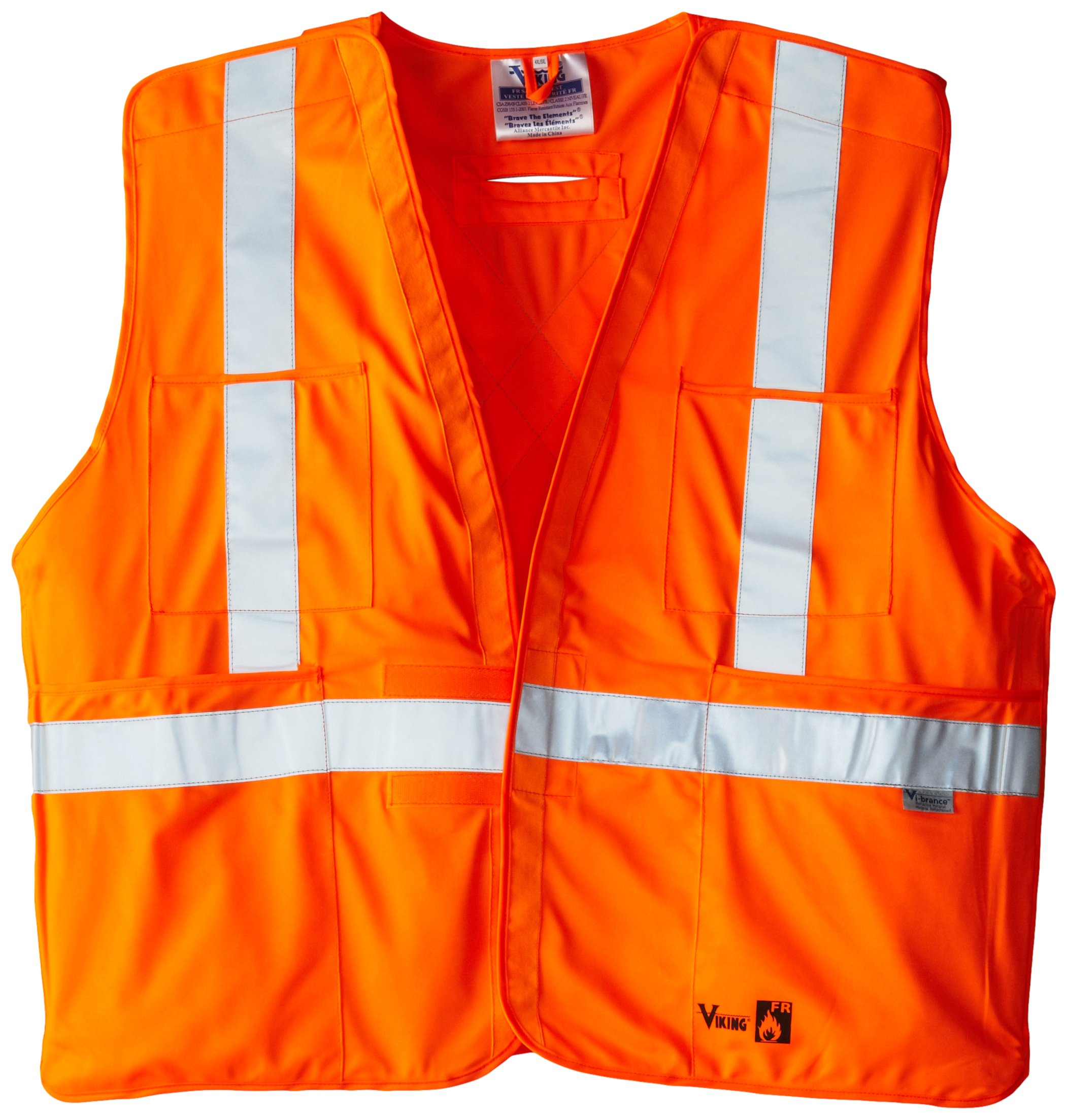 Viking FR Flame Resistant Reflective Vest, Orange, 4X-Large/5X-Large