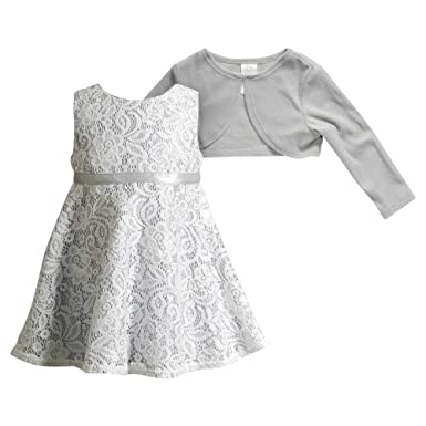836e9882c494e Amazon.com  Youngland Little Girls  2 Pc Dress  Floral Lace Dress with Knit  Cardigan