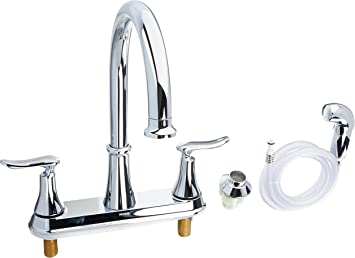Moen Ca87015 High Arc Kitchen Faucet With Side Spray From The Solidad Collection Chrome Touch On Kitchen Sink Faucets Amazon Com