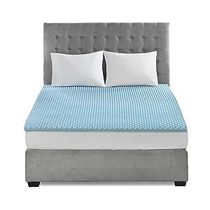 Flexapedic by Sleep Philosophy Gel Memory Foam Mattress Protector Cooling Bed Cover, Queen, Blue