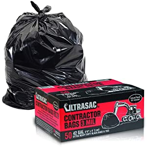 "Heavy Duty Contractor Bags by Ultrasac - (VALUE 50 PACK /w TIES), 42 Gallon, 2'9"" X 4' - 3 MIL Thick Large Black Industrial Garbage Trashbags for Construction and Commercial use"