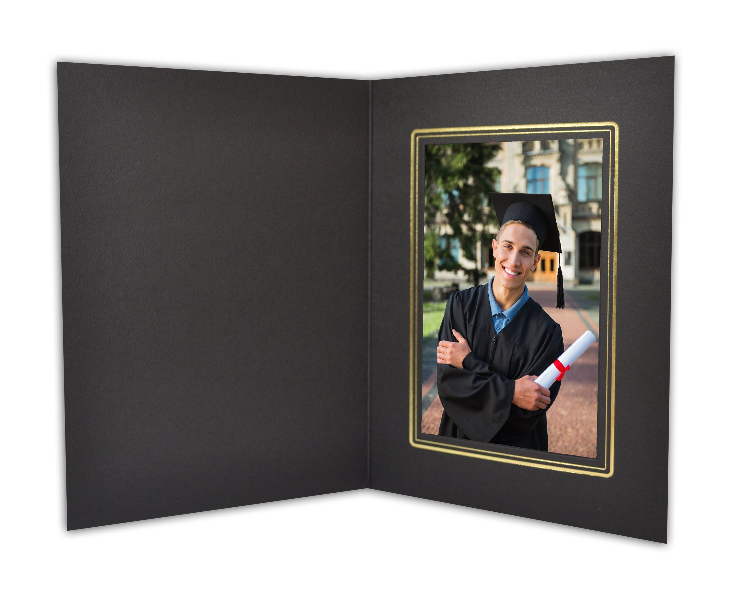 Golden State Art, Cardboard Photo Folder For a 4x6 Photo (Pack of 100) GS001-S Black Color by Golden State Art