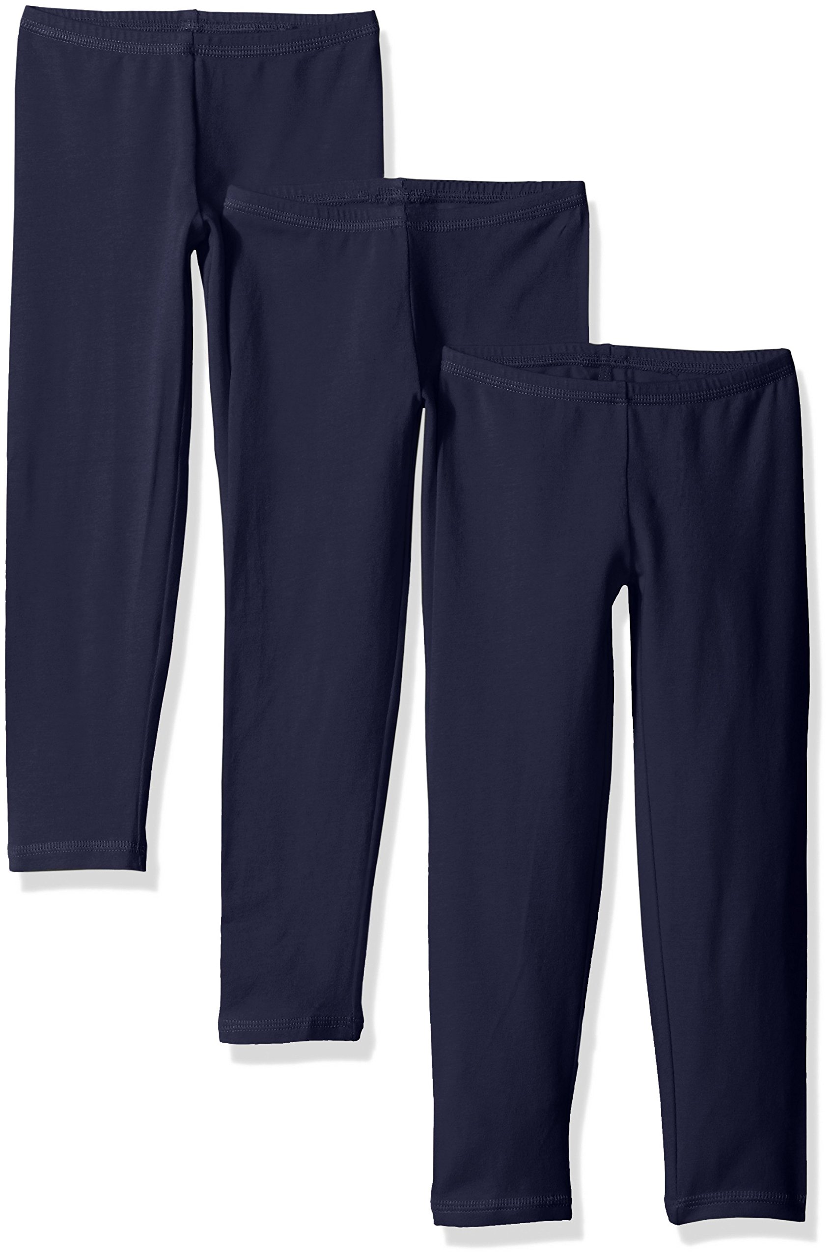 Hanes Little Girls' Leggings (Pack of 3), Navy, Small