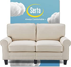 Serta Copenhagen Sofa Couch for Two People, Pillowed Back Cushions and Rounded Arms, Durable Modern Upholstered Fabric, 61