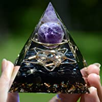 Esfera de amatista con pirámide de orgonita de obsidiana de cinco estrellas, herramienta de meditación de chakras de…
