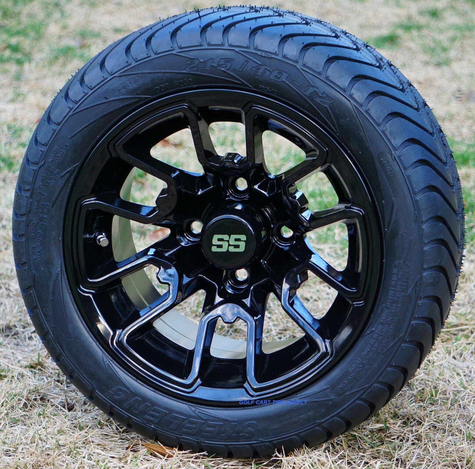 12'' LIZARD Black Aluminum Golf Cart Wheels and 215/40-12 Low Profile DOT Golf Cart Tires Combo - Set of 4