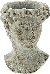 """The Bridge Collection Small Greek Statue Head Cement Planter, 6"""""""