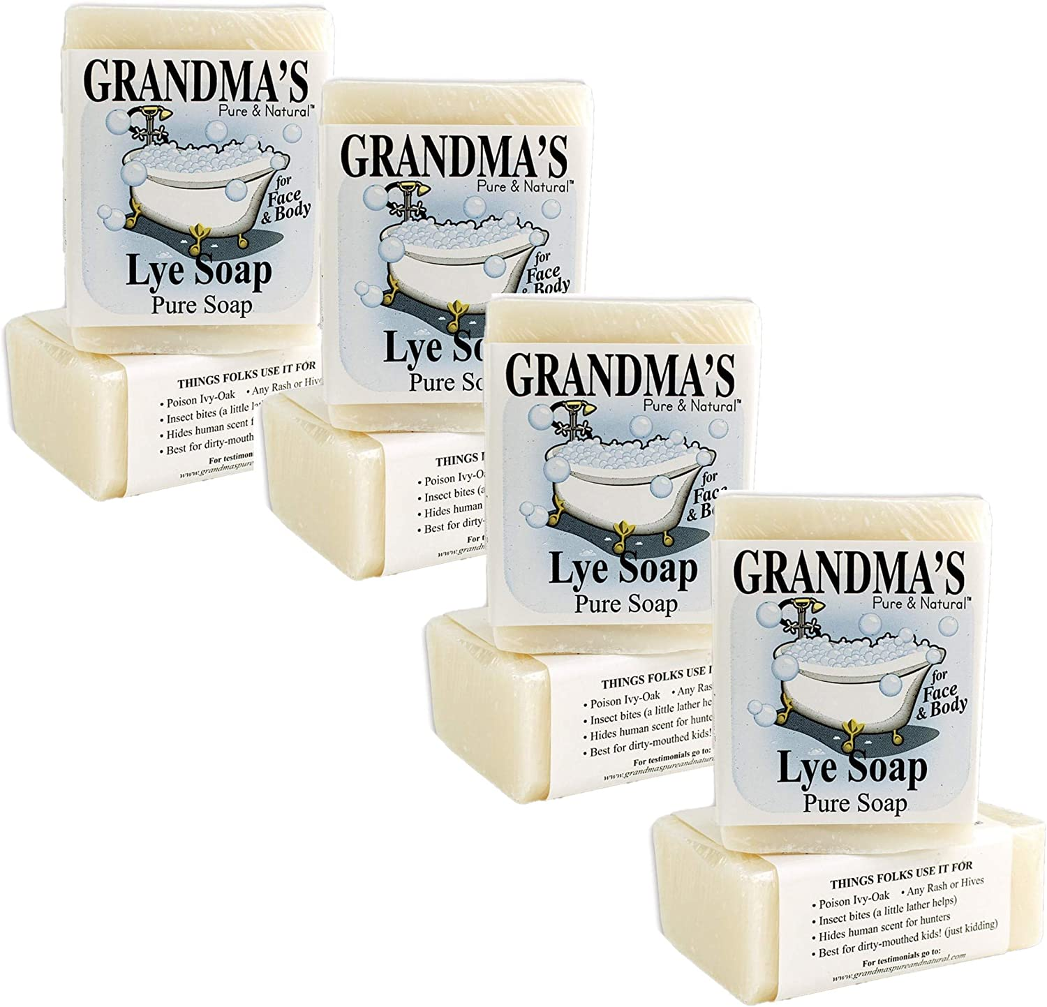 Grandma's Pure Lye Soap Bar - 6.0 oz Unscented Face & Body Wash Cleans with No Detergens, Dyes & Fragrances - 60018 (8 Pack)