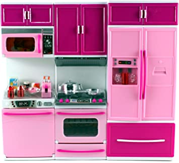 My Happy Kitchen Dishwasher Oven Refrigerator Battery Operated Toy Doll Kitchen Playset W Lights Sounds Perfect For Use With 11 12 Tall Dolls Amazon De Spielzeug