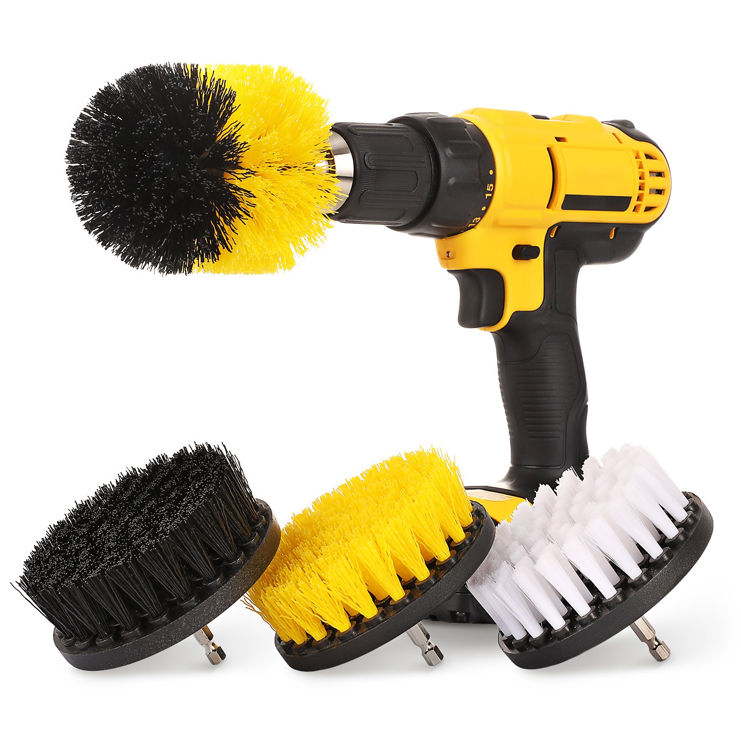 4 Piece Drill Brush Attachment Set - Soft, Medium and Stiff Power Scrubbing Drill Brush for Cleaning - White/Yellow / Black
