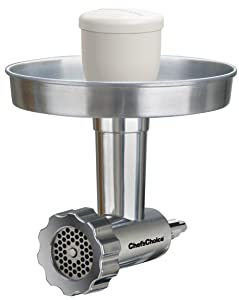 Chef'sChoice 795 Premium Food Grinder Attachment Designed to fit KitchenAid Stand Mixers Includes Fine Medium and Coarse Grinder Plates and Sausage Stuffer Kit, Silver