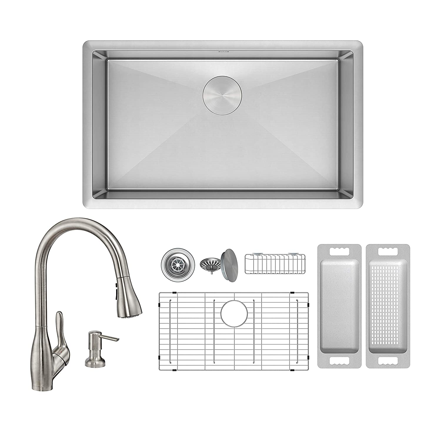 Zuhne Modena 13 X 15 Inch Small Undermount Single Bowl 16 Gauge Rv Plumbing Diagram Stainless Steel