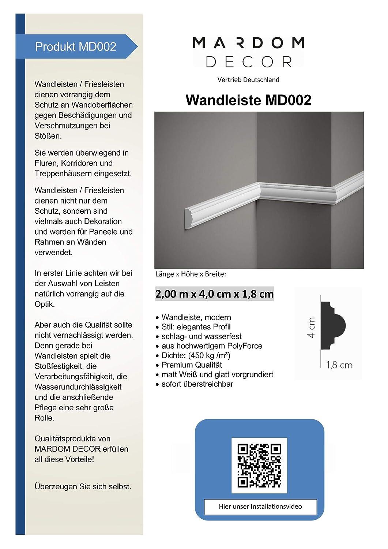 Wandleiste Mardom Decor MD002 Paneelleiste Trennleiste Friesleiste wei/ß 2m H/öhe 4cm
