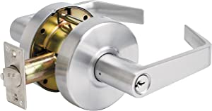 Master Lock Keyed Entry Door Lock, Commercial Lever Style Handle, Brushed Chrome, SLCHKE26D