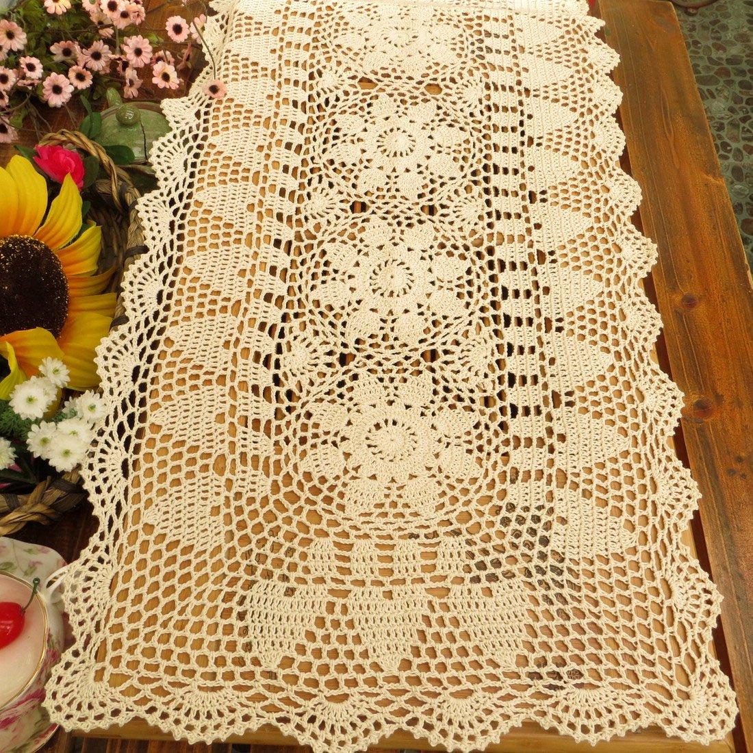 kilofly Handmade Crochet Lace Rectangular Table Runner 15 x 71 Inch, Beige