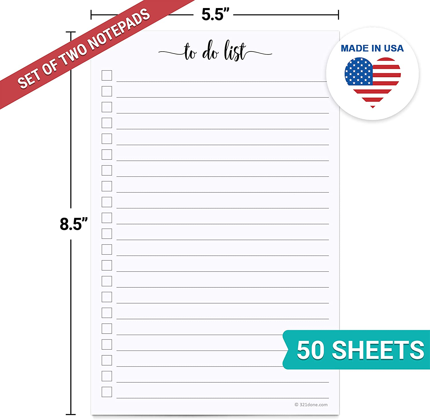 5.5 x 8.5 Planning Memo Pad 321Done to Do List Notepad to-Dos Notepad Tear Off Made in USA Simple Script College-Ruled 50 Sheets Planner Checklist Organizing
