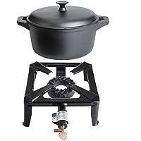 Kocher 1-flammig klein schwarz Cooker Balkon Camping Picknick ✔ eckig ✔ Grillen mit Gas