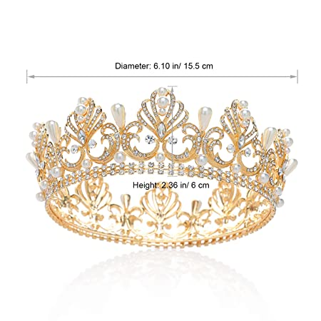 Amazon.com : SWEETV Gold Full Round Crown Pearl Crystal Tiara for Women - Royal Wedding Hair Accessories : Beauty