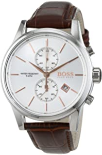 Hugo Boss Jet Silver / Brown Leather Analog Quartz Chronograph Mens Watch 1513280