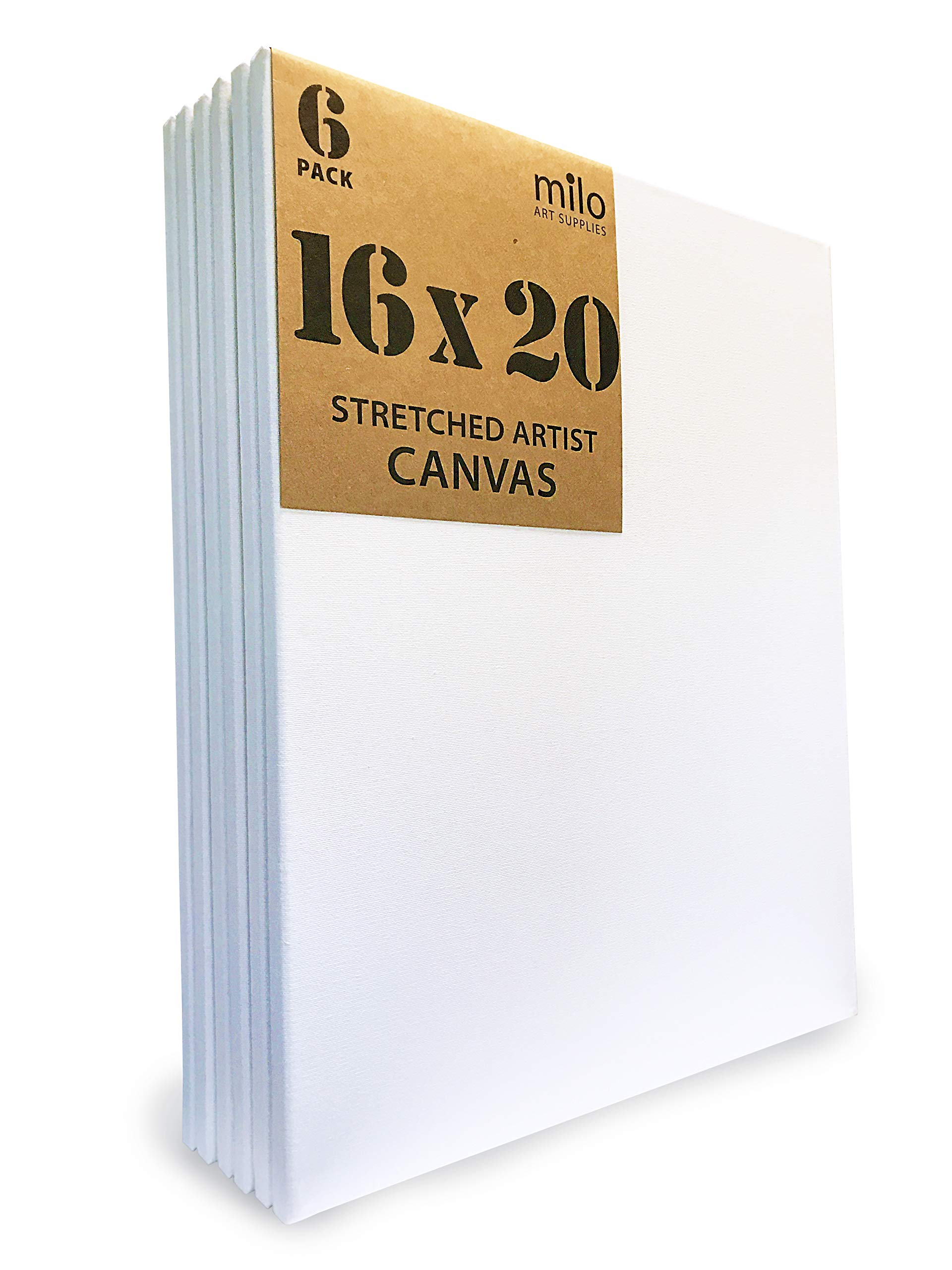 MILO | 16 x 20'' Pre Stretched Artist Canvas Value Pack of 6 | Primed Cotton Canvas for Painting | Gallery Wrapped Back Stapled by milo