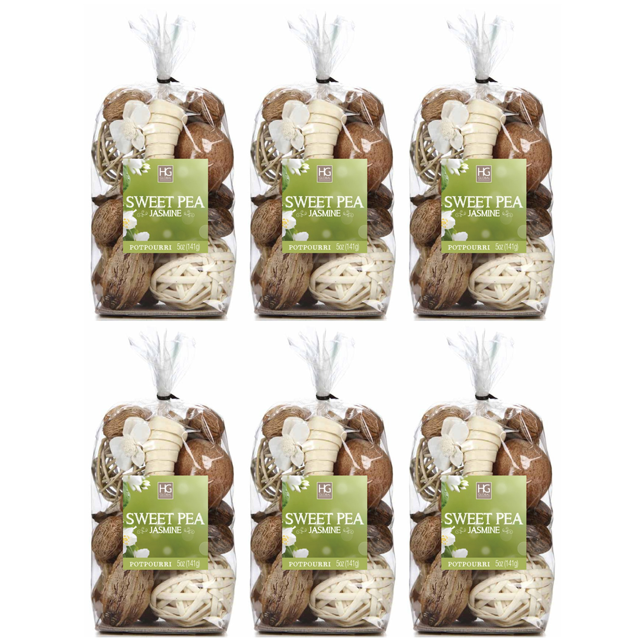 Hosley Sweet Pea Jasmine Chunky Potpourri. Set of 6 Bags, 5 Oz Each, Total 30 Oz Bulk Buy. Ideal for Party Favor, Weddings, Spa, Reiki, Meditation, Bathroom Settings. O4