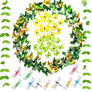 Seasonsky 85 PCS 3D Butterfly Wall Decals Sticker 3D Dragonfly Wall Decoration with Green Leaf, Glue Points, Yellow Green Removable Mural DIY Home Decor, Baby Room Decorations