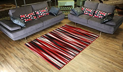 Designer Collection Stripes Design Contemporary Modern Area Rug Rugs 3 Different Color Options Red, 4 11 x6 11