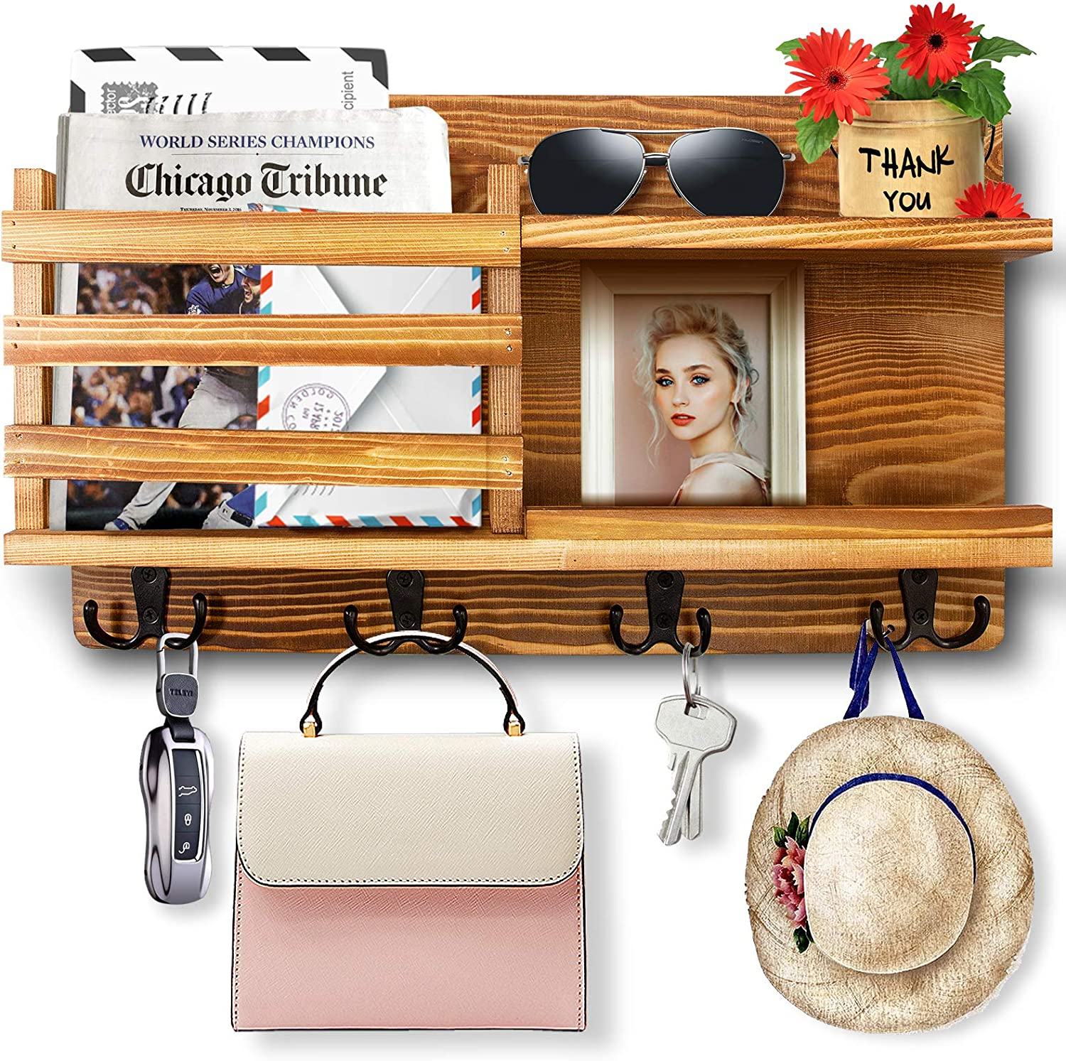 Storage Living Room Office Brobantle Wall Mounted Mail Holder for Wall with Key Hooks Mail Organizer Wall Mount Key Holder Key Hooks Decorative Wooden Key Shelf for Entryway Hallway Brown