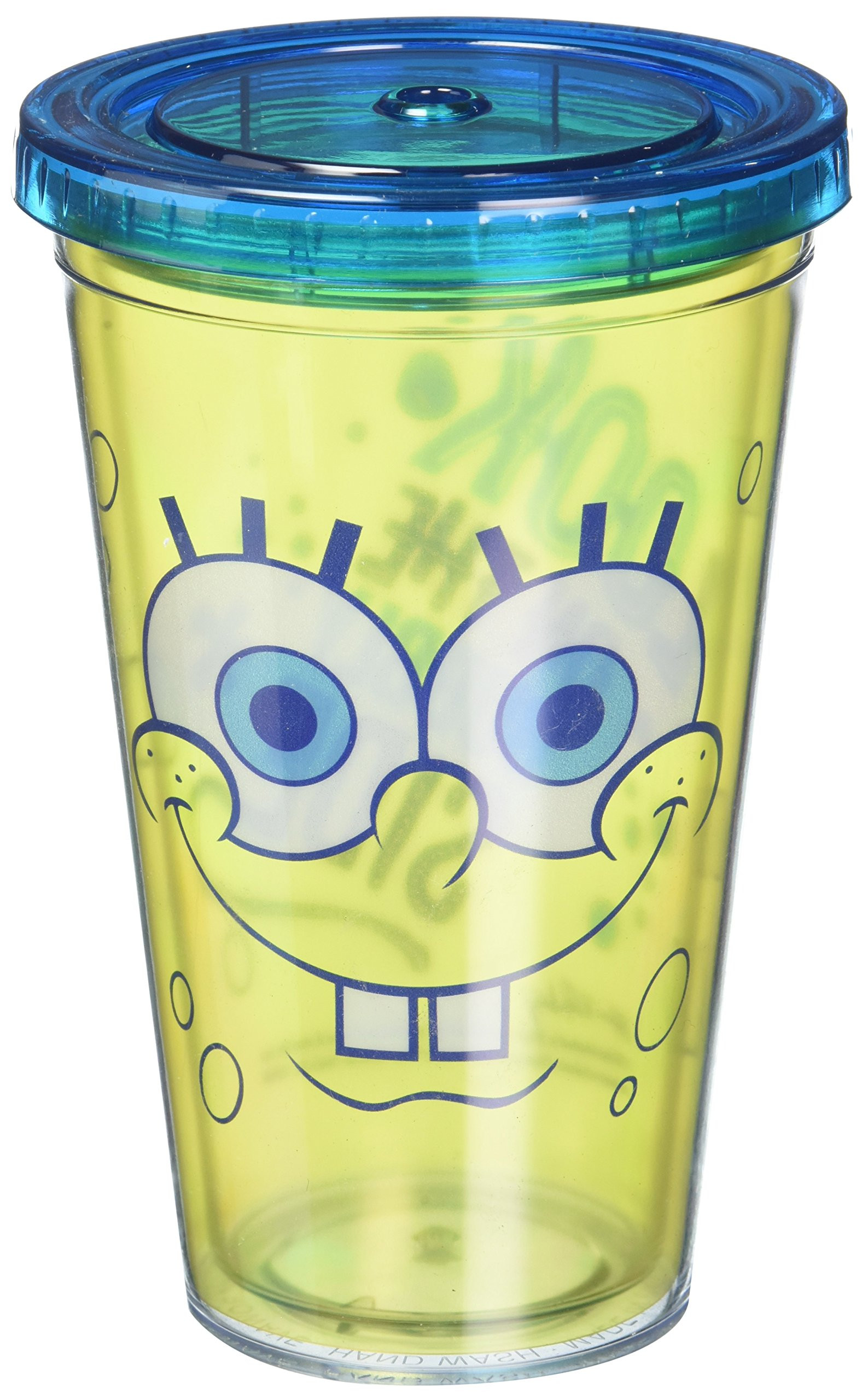 ICUP Nickelodeon - SpongeBob SquarePants Big Happy Face Cup with Straw, Clear