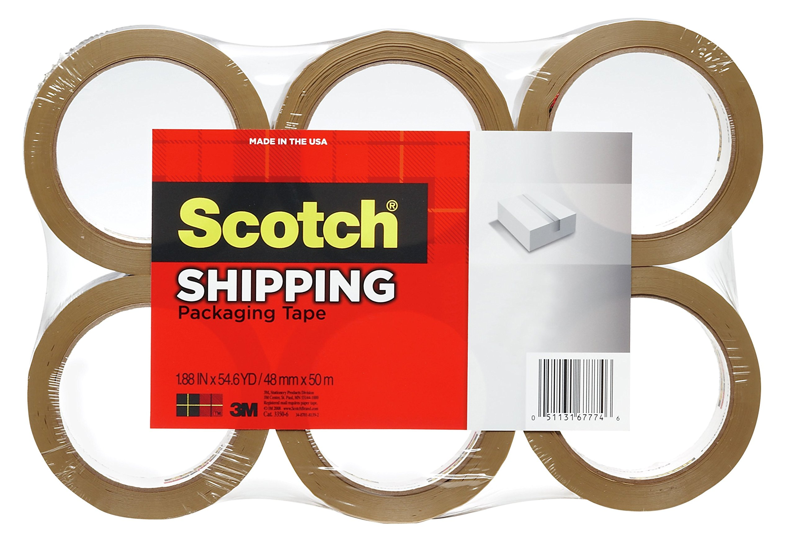 Scotch Lightweight Shipping Packaging Tape, 1.88 Inches x 54.6-Yards, Tan, 6 pack (3350T-6)
