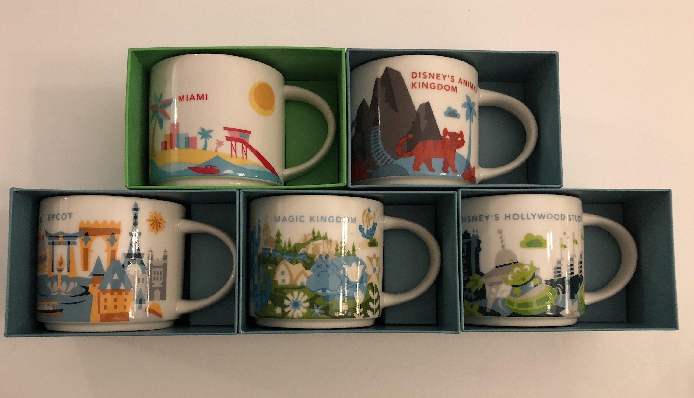 Set of 5: Animal Kingdom+ Magic Kingdom+Epcot+ Disney's Hollywood Studios+ Miami You Are Here YAH 14 Oz. Starbucks Mugs